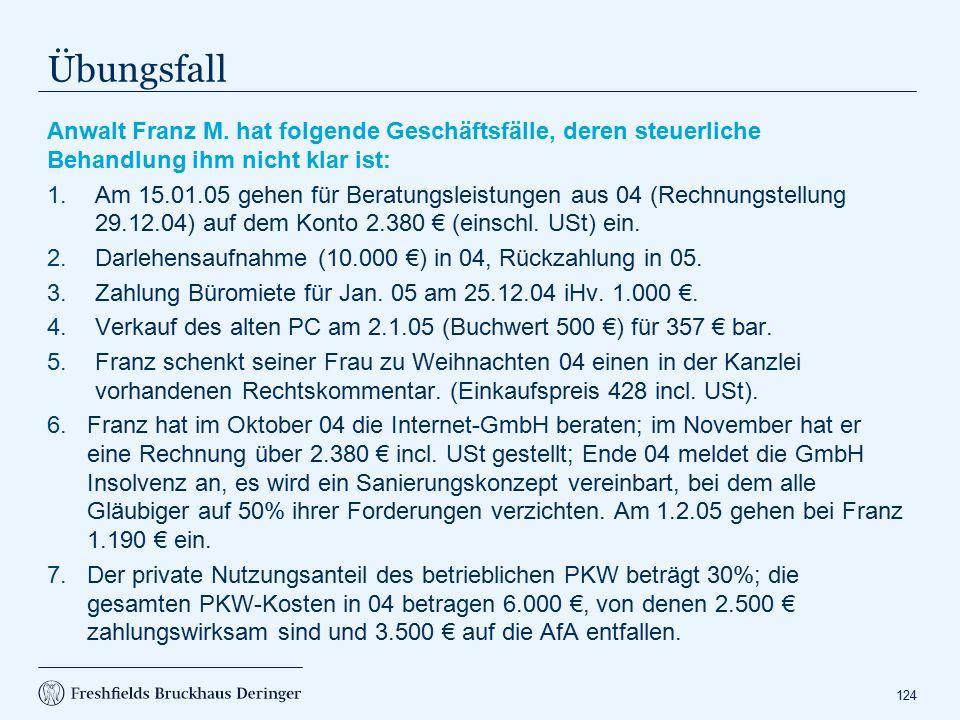Lösung BE in 05: 2.320 € (keine regelm. wiederkehrenden Einnahmen).