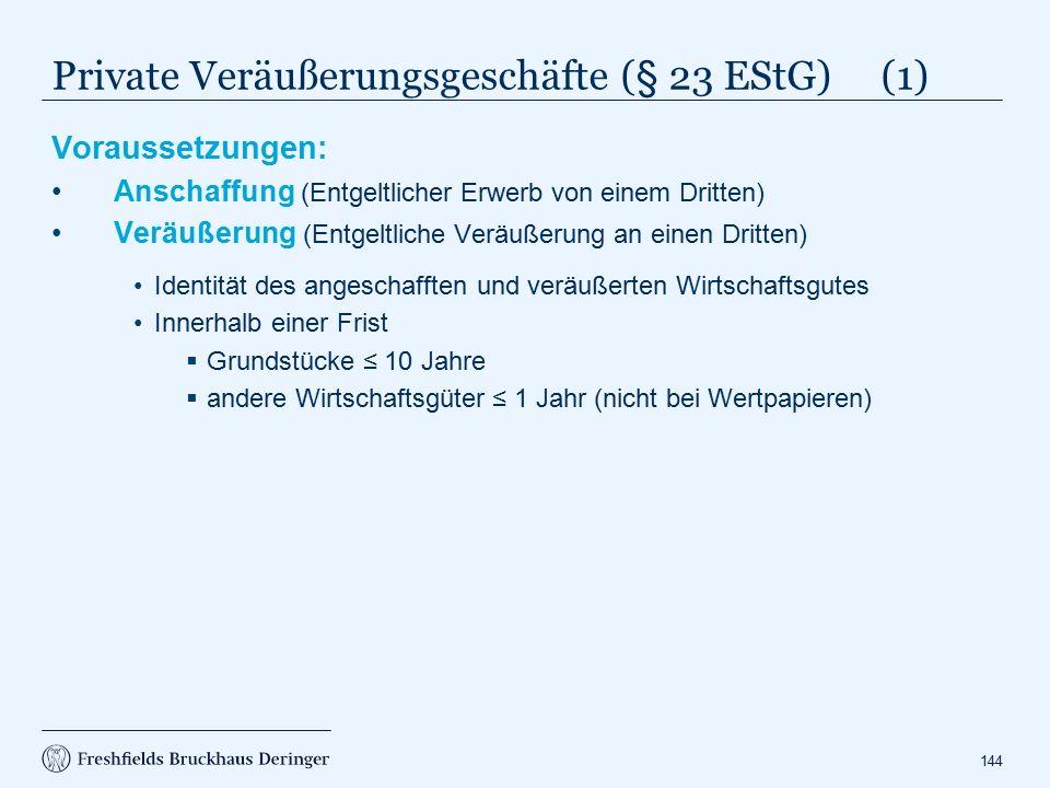 Private Veräußerungsgeschäfte (§ 23 EStG) (2)