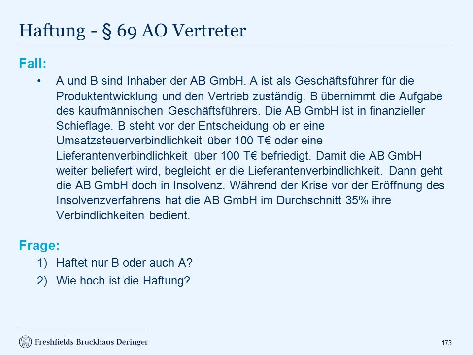 Haftung - § 69 AO Vertreter
