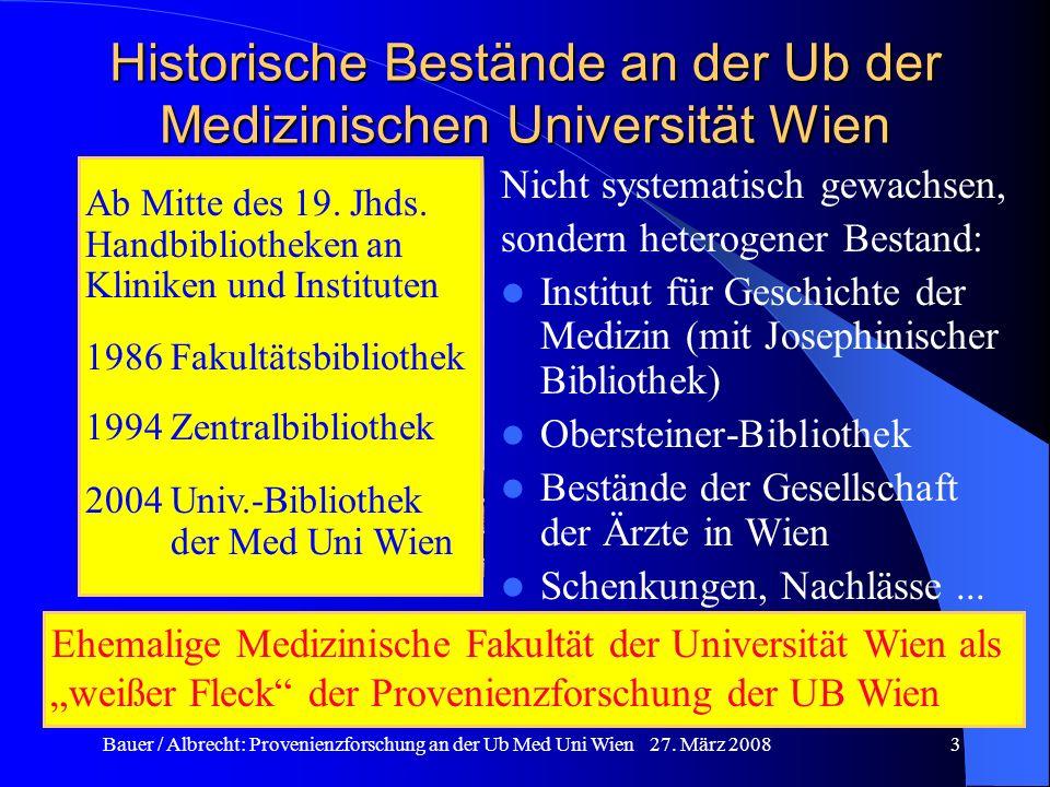 Historische Bestände an der Ub der Medizinischen Universität Wien