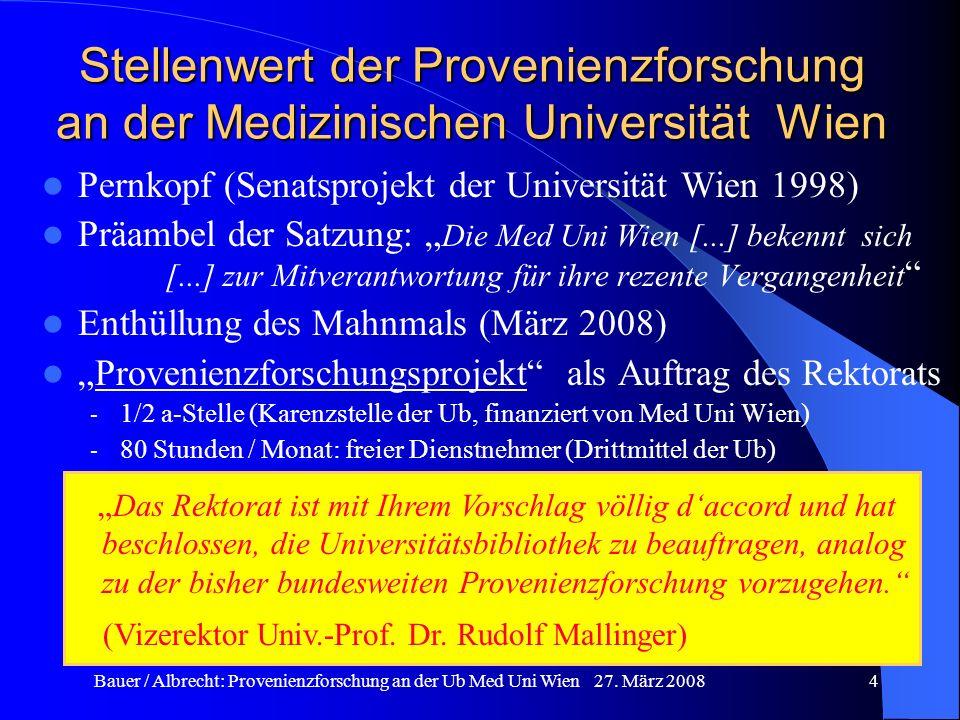 Stellenwert der Provenienzforschung an der Medizinischen Universität Wien