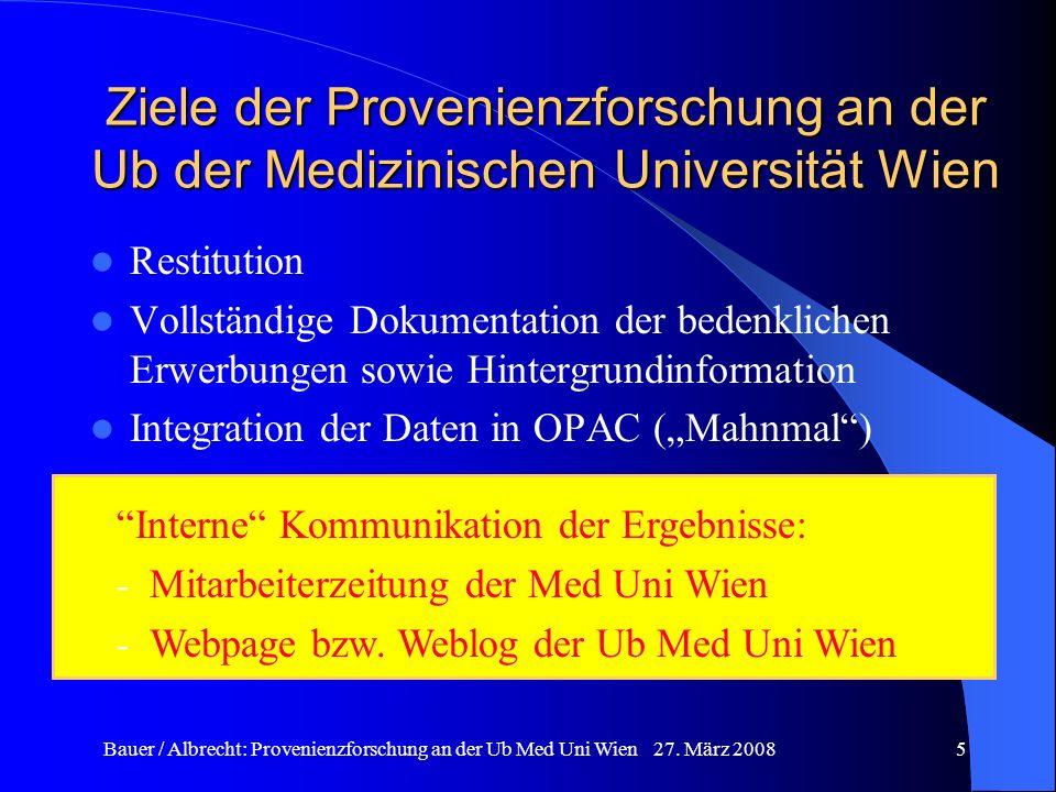 Ziele der Provenienzforschung an der Ub der Medizinischen Universität Wien