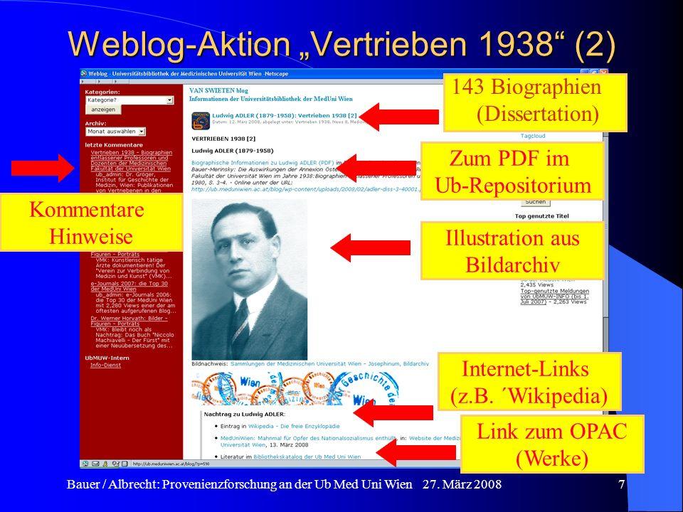 """Weblog-Aktion """"Vertrieben 1938 (2)"""