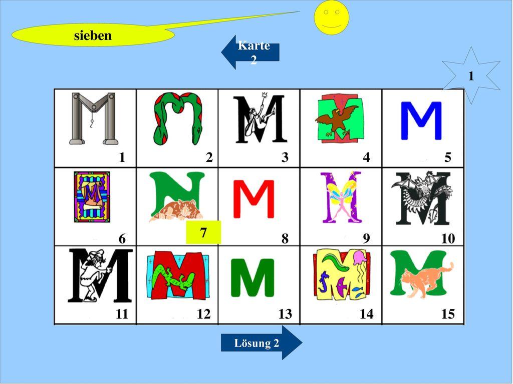 sieben Karte 2 1 1 2 3 4 5 6 7 8 9 10 12 13 14 15 11 Lösung 2