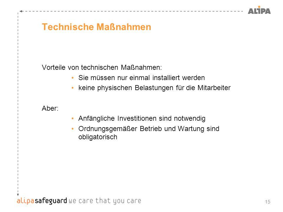 Technische Maßnahmen Vorteile von technischen Maßnahmen: