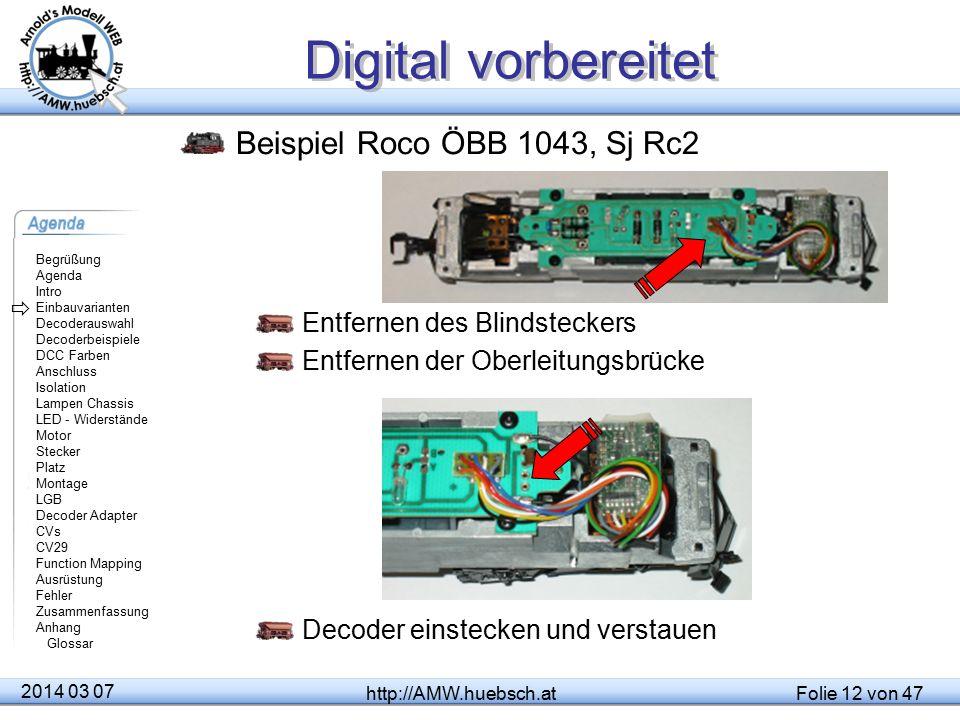 Digital vorbereitet Beispiel Roco ÖBB 1043, Sj Rc2