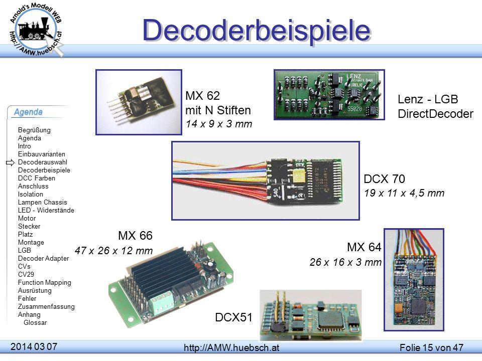 Decoderbeispiele MX 62 mit N Stiften 14 x 9 x 3 mm