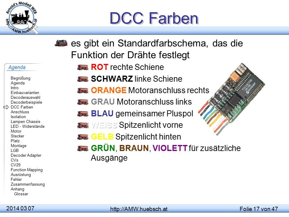 DCC Farben es gibt ein Standardfarbschema, das die Funktion der Drähte festlegt. ROT rechte Schiene.