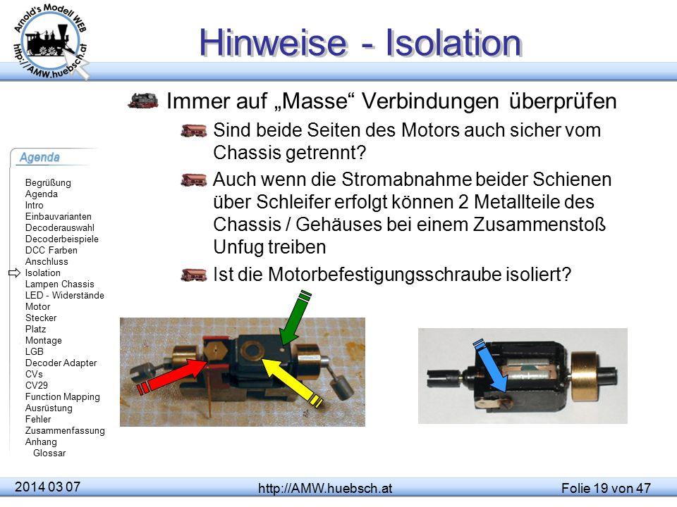 """Hinweise - Isolation Immer auf """"Masse Verbindungen überprüfen"""