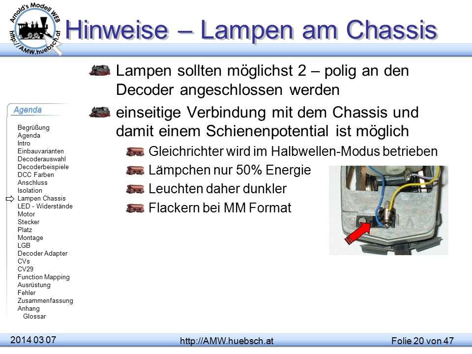 Hinweise – Lampen am Chassis