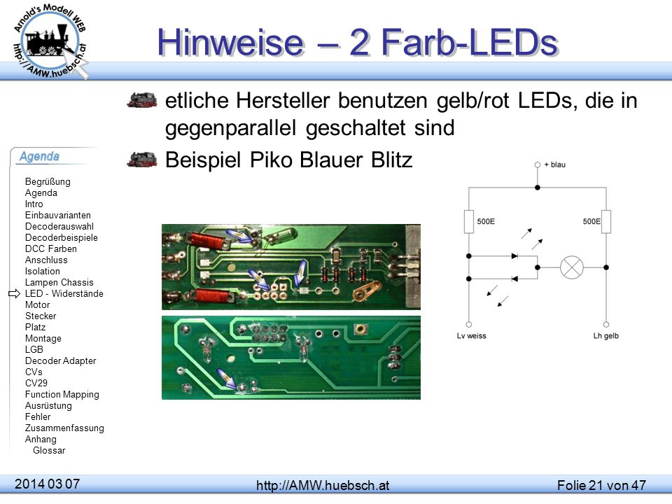 Hinweise – 2 Farb-LEDs etliche Hersteller benutzen gelb/rot LEDs, die in gegenparallel geschaltet sind.
