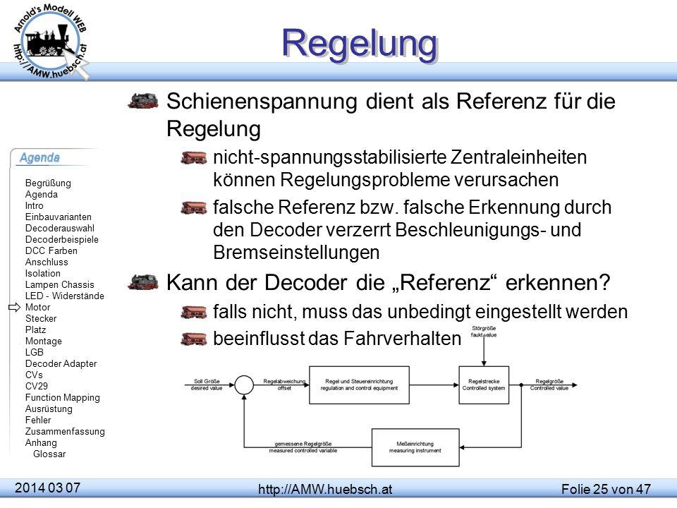 Regelung Schienenspannung dient als Referenz für die Regelung