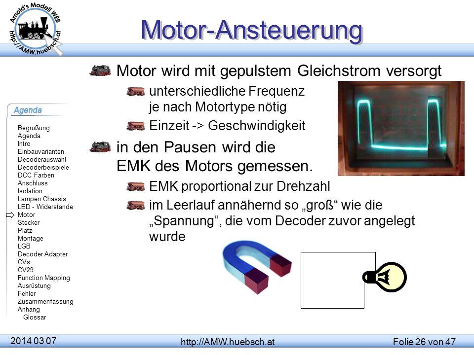 Motor-Ansteuerung Motor wird mit gepulstem Gleichstrom versorgt