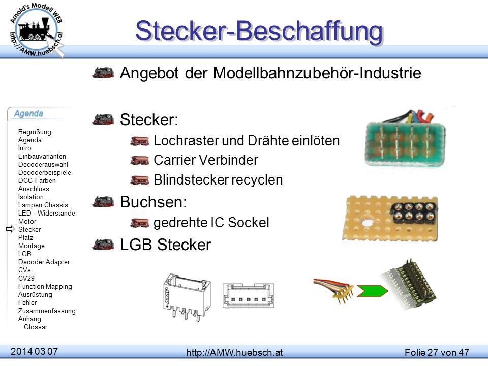 Stecker-Beschaffung Angebot der Modellbahnzubehör-Industrie Stecker:
