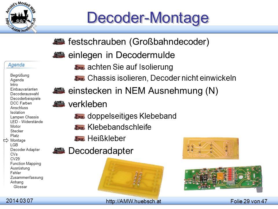 Decoder-Montage festschrauben (Großbahndecoder)