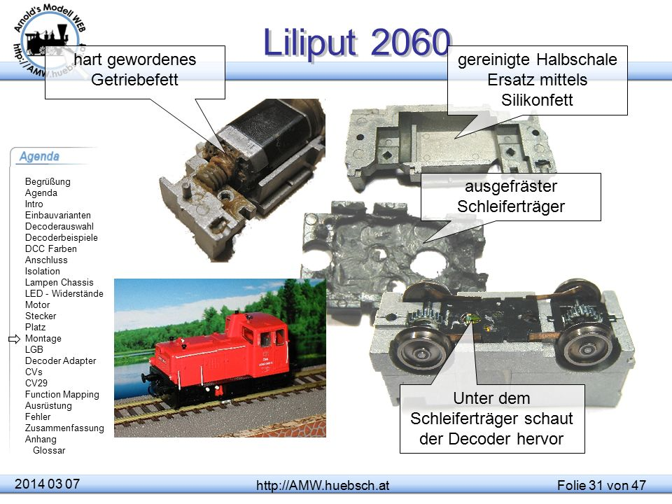 Liliput 2060 hart gewordenes Getriebefett gereinigte Halbschale