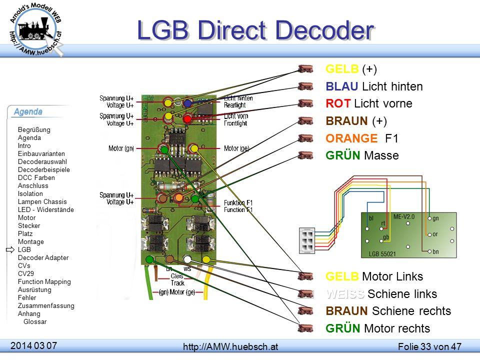 LGB Direct Decoder GELB (+) BLAU Licht hinten ROT Licht vorne