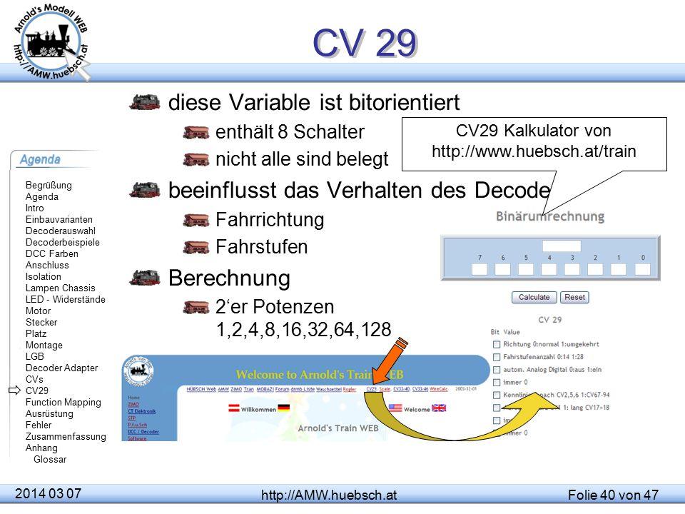 CV29 Kalkulator von http://www.huebsch.at/train