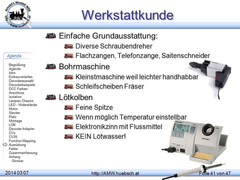 Werkstattkunde Einfache Grundausstattung: Bohrmaschine Lötkolben