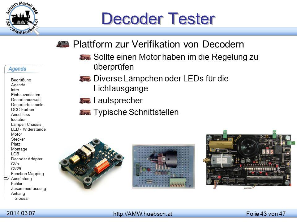 Decoder Tester Plattform zur Verifikation von Decodern