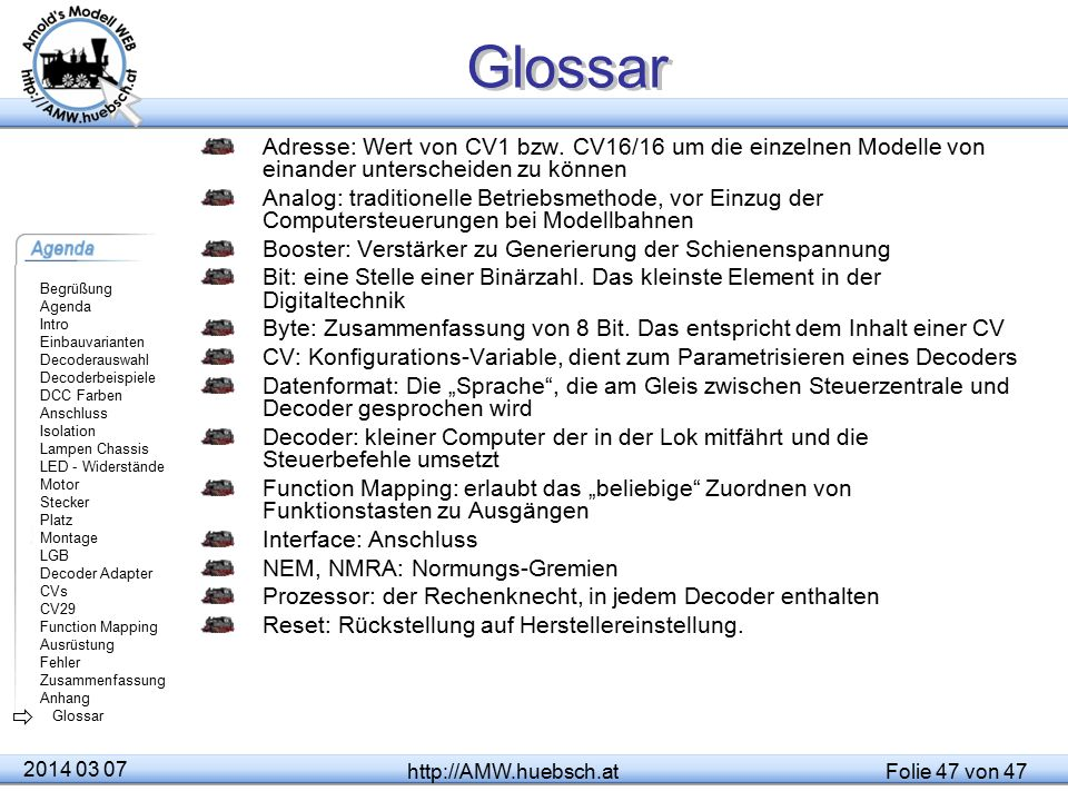 Glossar Adresse: Wert von CV1 bzw. CV16/16 um die einzelnen Modelle von einander unterscheiden zu können.