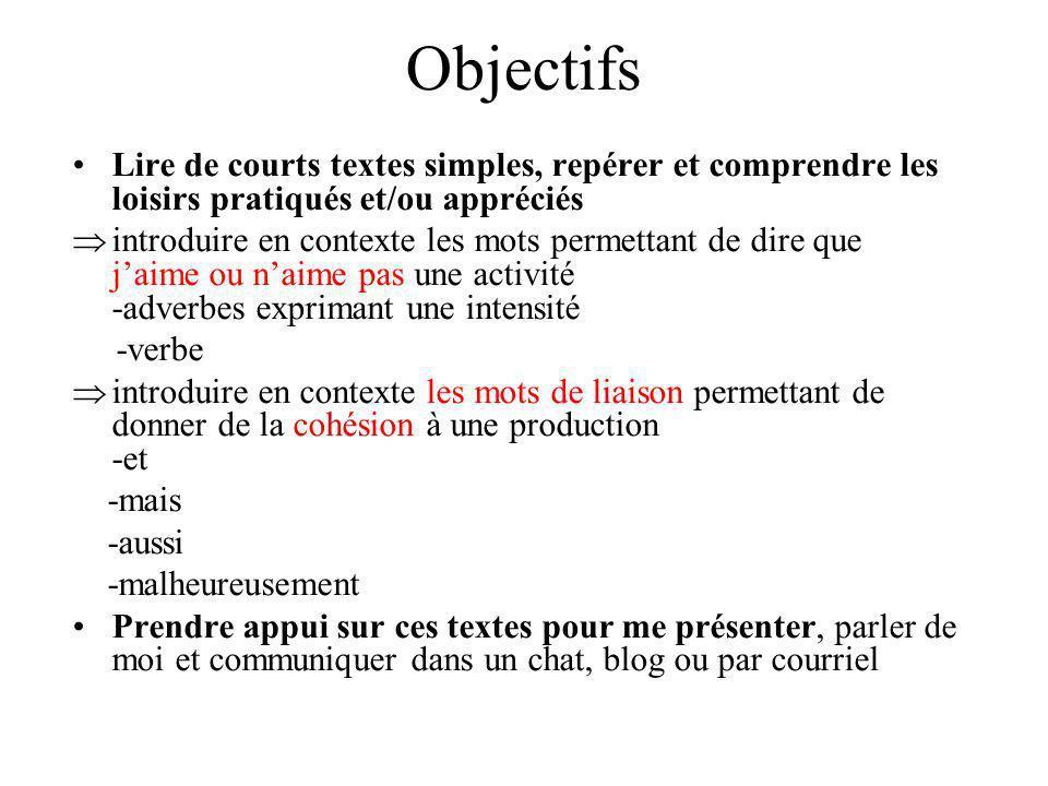 Objectifs Lire de courts textes simples, repérer et comprendre les loisirs pratiqués et/ou appréciés.