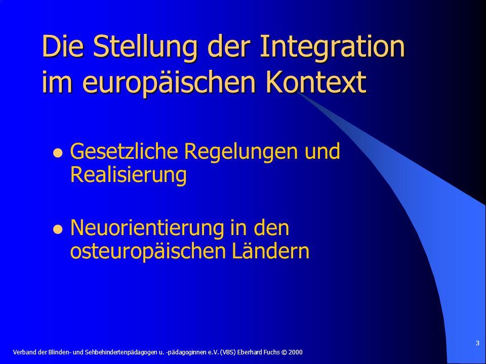 Die Stellung der Integration im europäischen Kontext