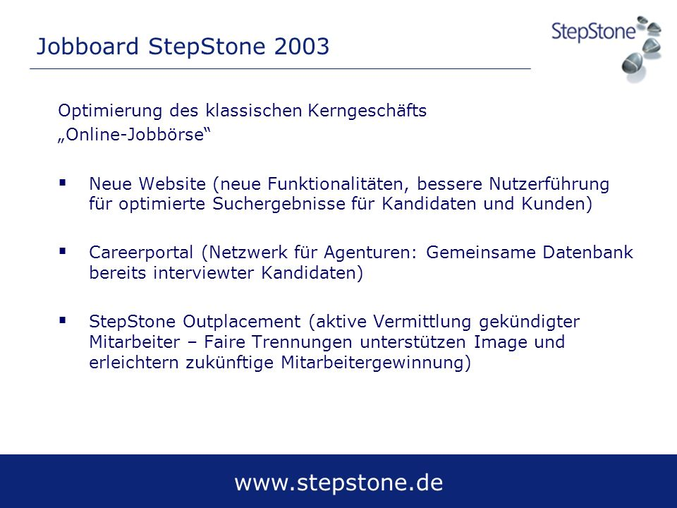 Jobboard StepStone 2003 Optimierung des klassischen Kerngeschäfts