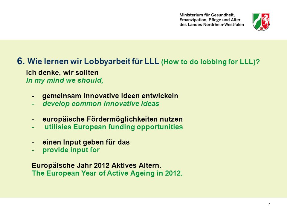 6. Wie lernen wir Lobbyarbeit für LLL (How to do lobbing for LLL)