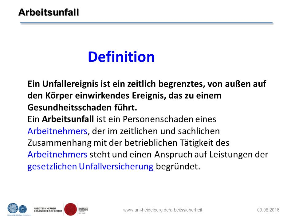 Definition Arbeitsunfall