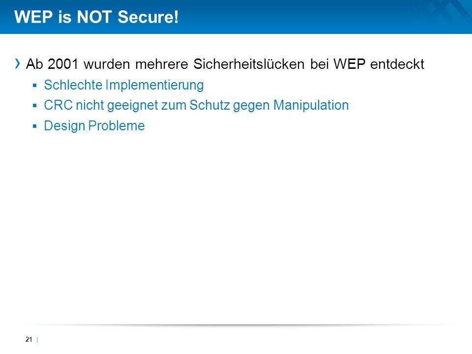 WEP is NOT Secure! Ab 2001 wurden mehrere Sicherheitslücken bei WEP entdeckt. Schlechte Implementierung.