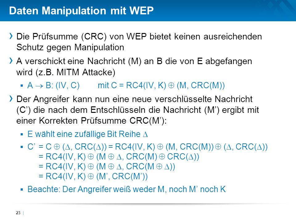 Daten Manipulation mit WEP