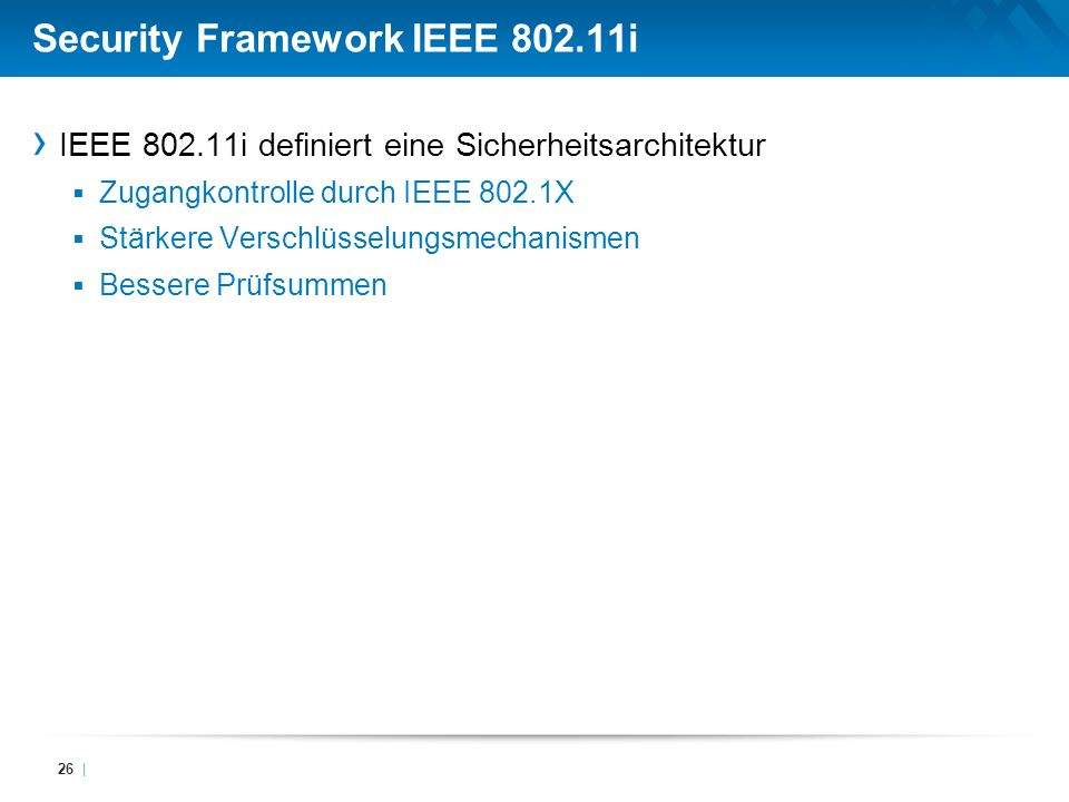 Security Framework IEEE 802.11i