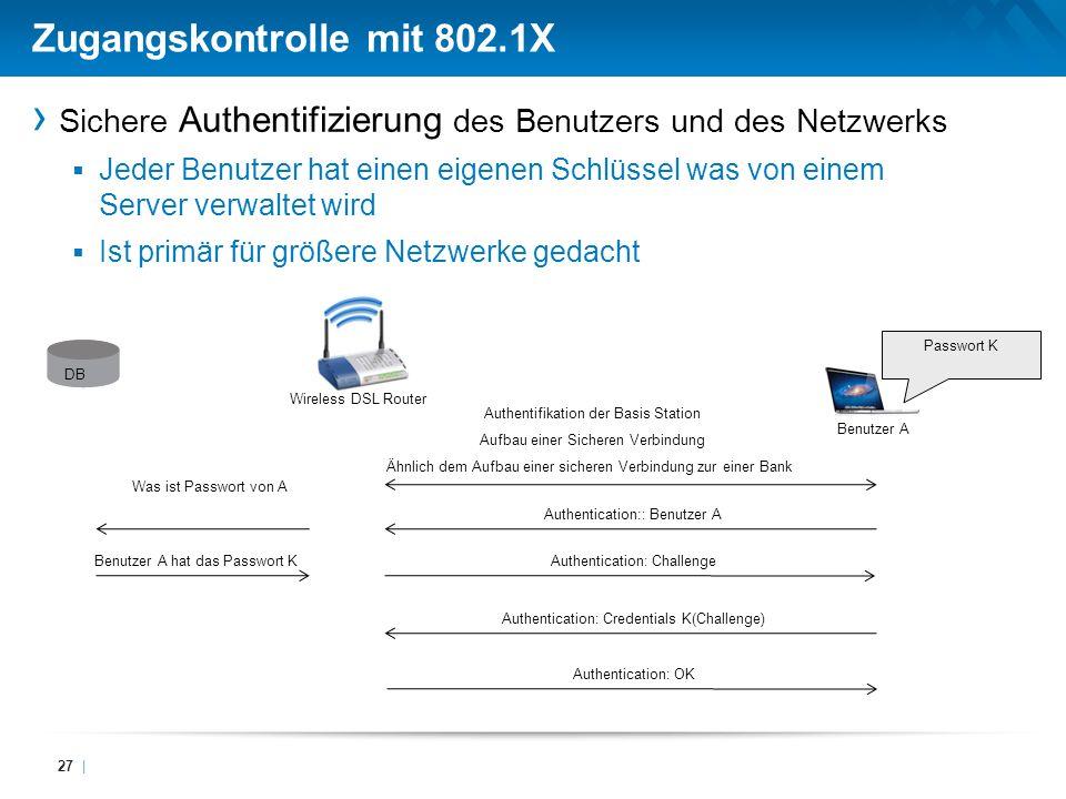 Zugangskontrolle mit 802.1X
