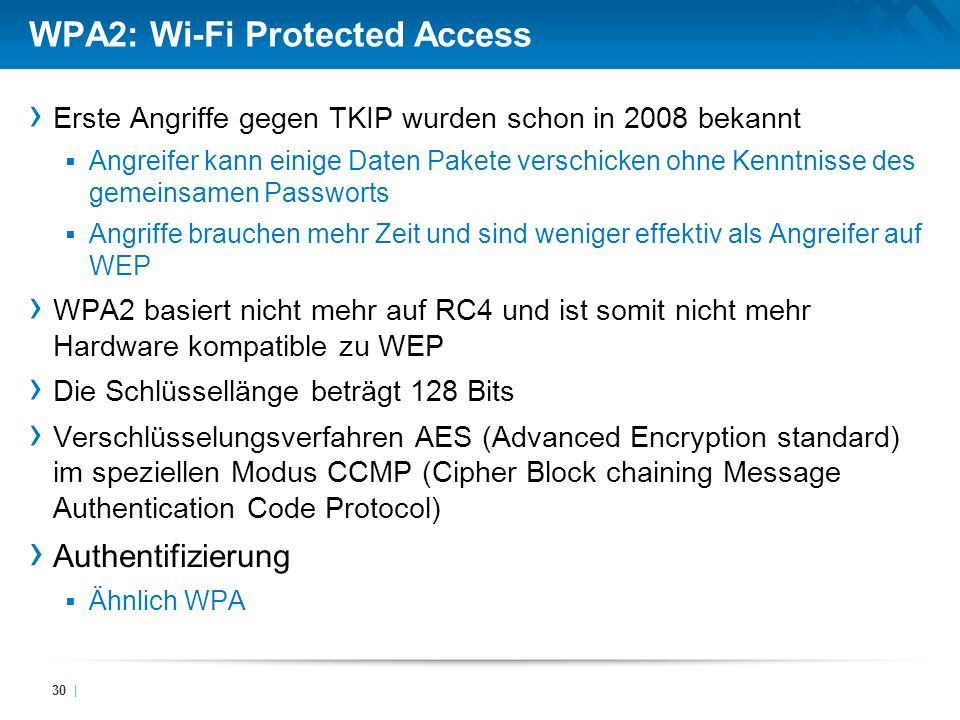 WPA2: Wi-Fi Protected Access