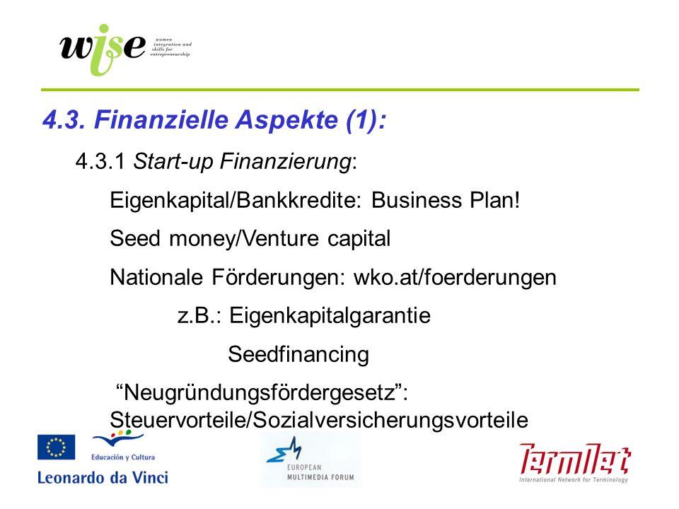 4.3. Finanzielle Aspekte (1):