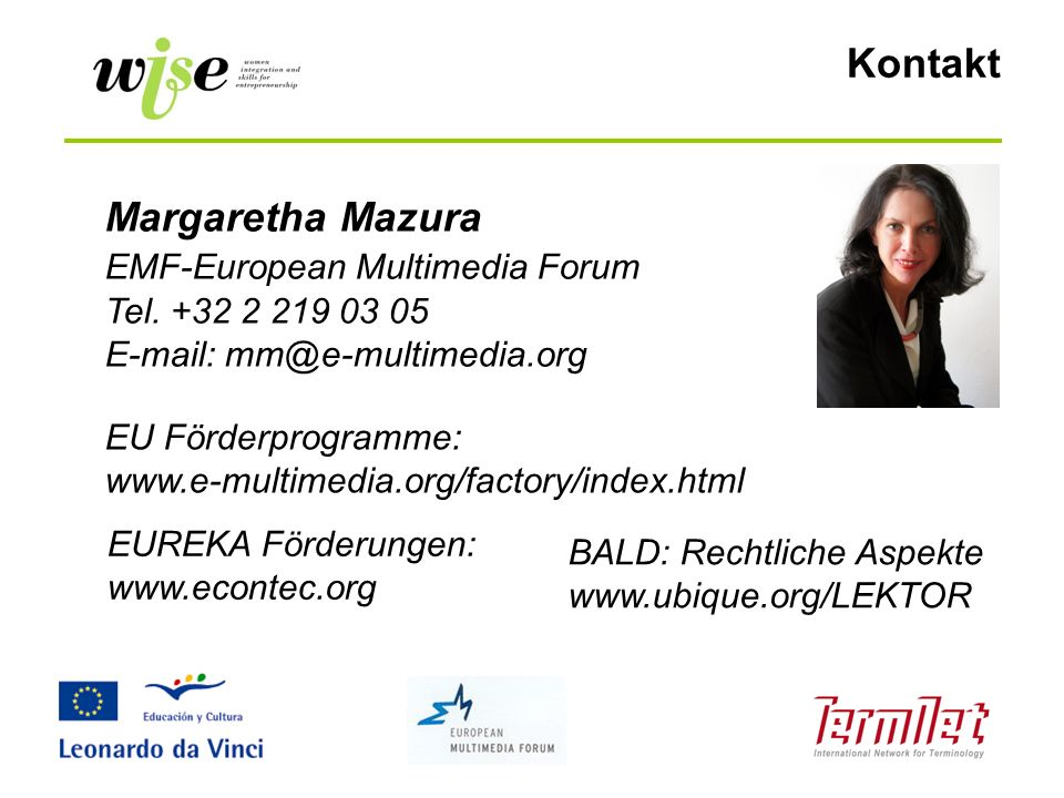 Kontakt Margaretha Mazura EMF-European Multimedia Forum