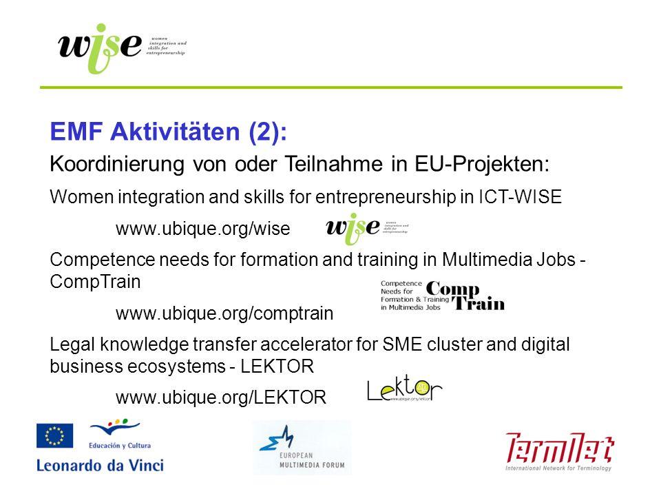 EMF Aktivitäten (2): Koordinierung von oder Teilnahme in EU-Projekten: