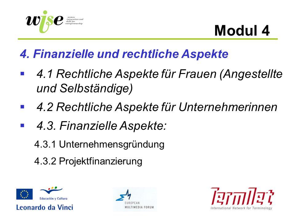 Modul 4 4. Finanzielle und rechtliche Aspekte