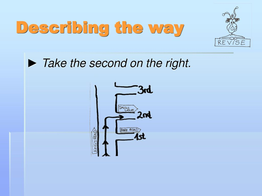 Describing the way ► Take the second on the right.