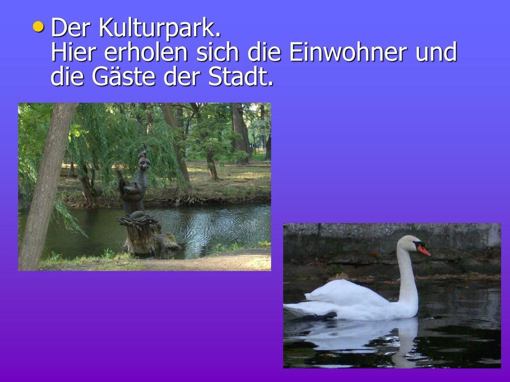 Der Kulturpark. Hier erholen sich die Einwohner und die Gäste der Stadt.