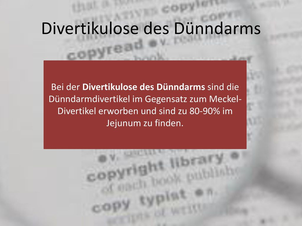 Divertikulose des Dünndarms