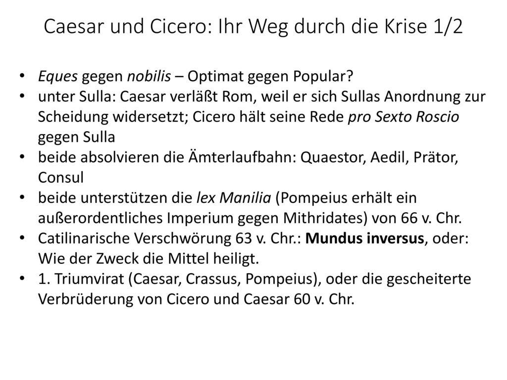 Caesar und Cicero: Ihr Weg durch die Krise 1/2
