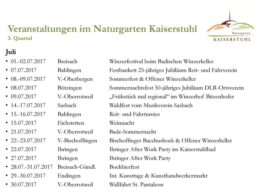Veranstaltungen im Naturgarten Kaiserstuhl 3. Quartal