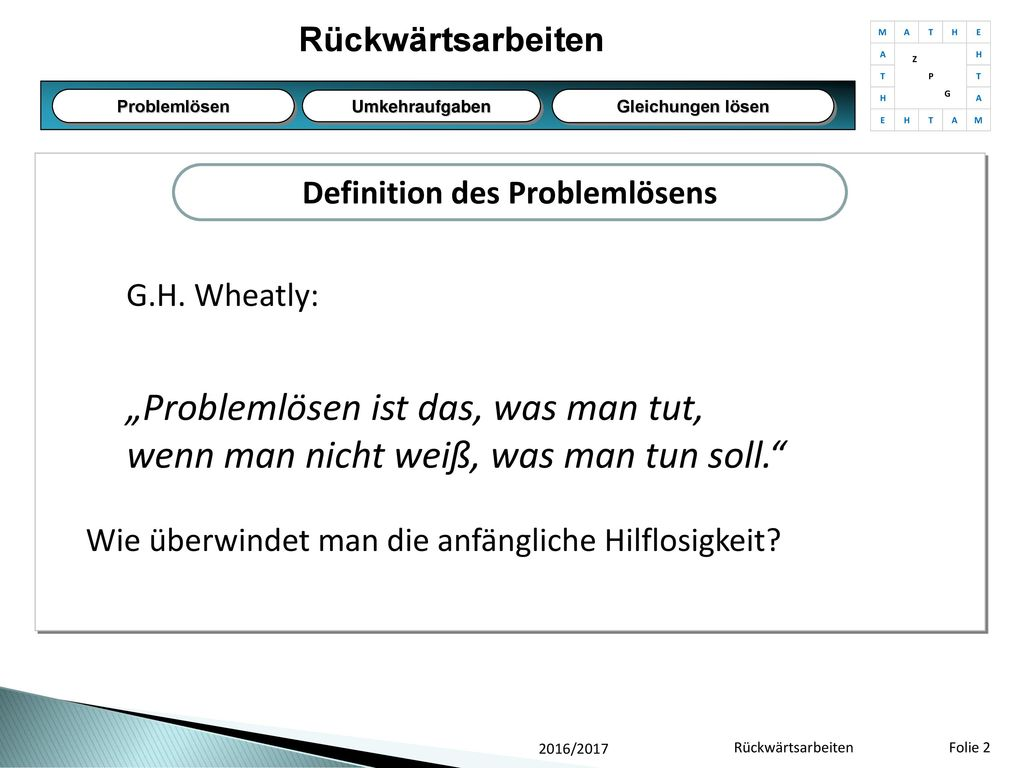 Definition des Problemlösens