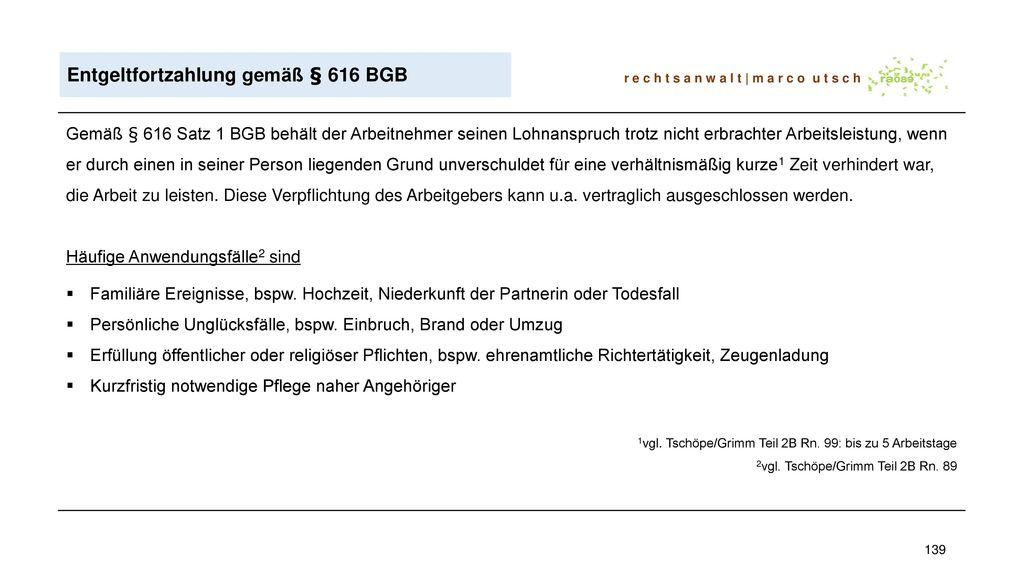 Entgeltfortzahlung gemäß § 616 BGB