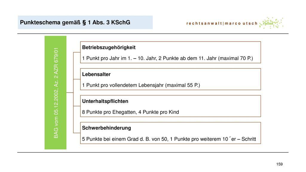 Punkteschema gemäß § 1 Abs. 3 KSchG