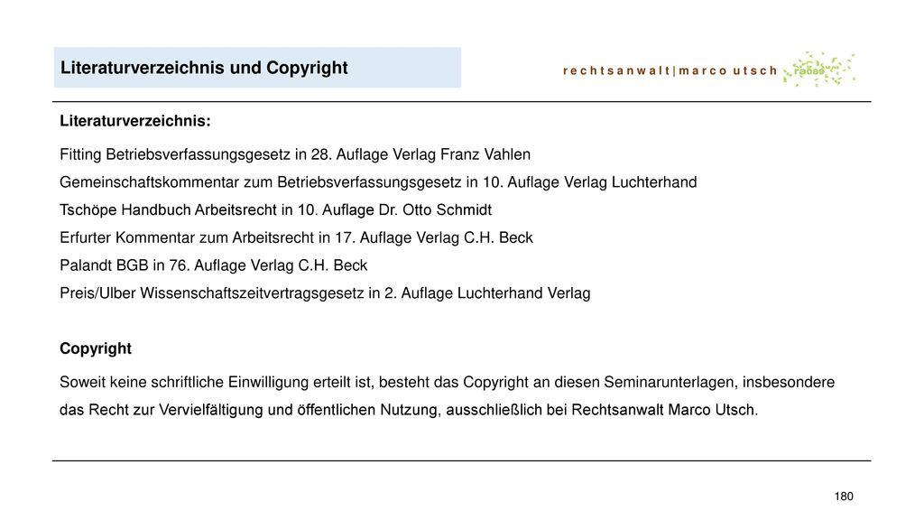Literaturverzeichnis und Copyright