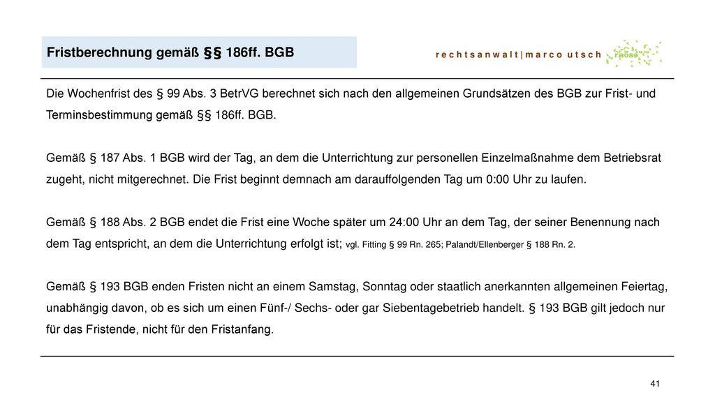 Fristberechnung gemäß §§ 186ff. BGB