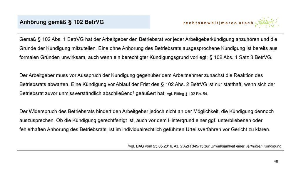 Anhörung gemäß § 102 BetrVG